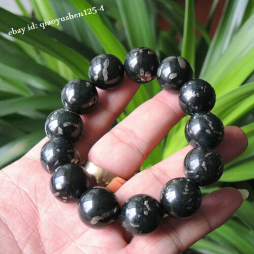 Fine China Xinjiang Ruoqiang Special Iron Meteorite Lnk GreenJade Beads Bracelet