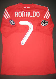 buy popular b54ad 165c0 Details about 2011/2012 Adidas Real Madrid Cristiano Ronaldo Jersey Shirt  Champions League Red