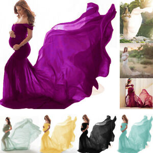 Maternity-Pregnant-Womens-Off-Shoulder-Dress-Photography-Props-Long-Maxi-Gown