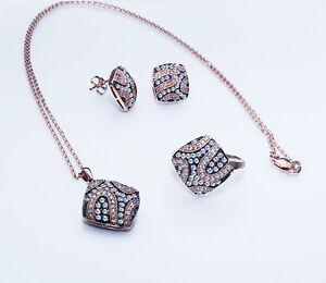 $4370 EGL/UGS CERT 1.50ct 14K Rose Gold 4 Piece Set: Ring Earrings Pendant Chain