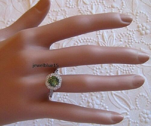 Moissanite Halo Engagement Wedding 2.13 Ct Green Unique 925 Sterling Silver Ring