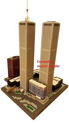 CUSTOM LEGO BUILDING Twin Towers New York Skyscraper INSTRUCTIONS ONLY.NO PARTS