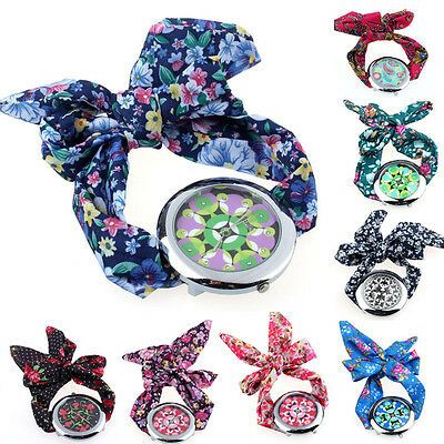 US HOT Floral Fabric Band Dress Cloth Watch Big Quartz Womens Wrist Watch