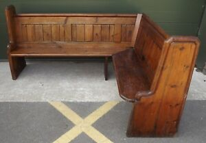 Antique-Victorian-Pitch-Pine-Corner-Pew-Hall-Seat-Settle