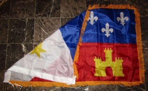 3x5 Louisiana Acadiana Poly Nylon Sleeve w// Gold Fringe Flag 3/'x5/' Banner