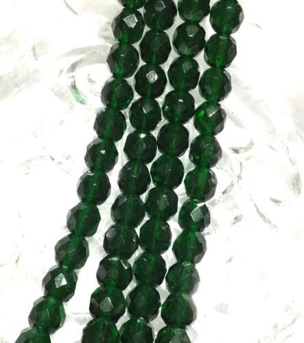 50 Beads 8mm Czech fire Polished Glass Transparent Dark Green Colored Beads