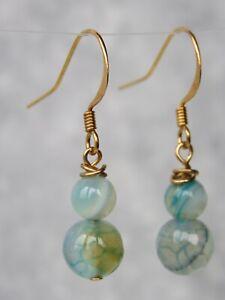 Gold Plated Moss Agate Dangle / Drop Semi Precious Stone Earrings  (mx66)