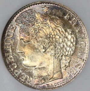 1894-A-NGC-MS-65-France-Silver-50-Centimes-Rainbow-Toned-Coin-18012903D