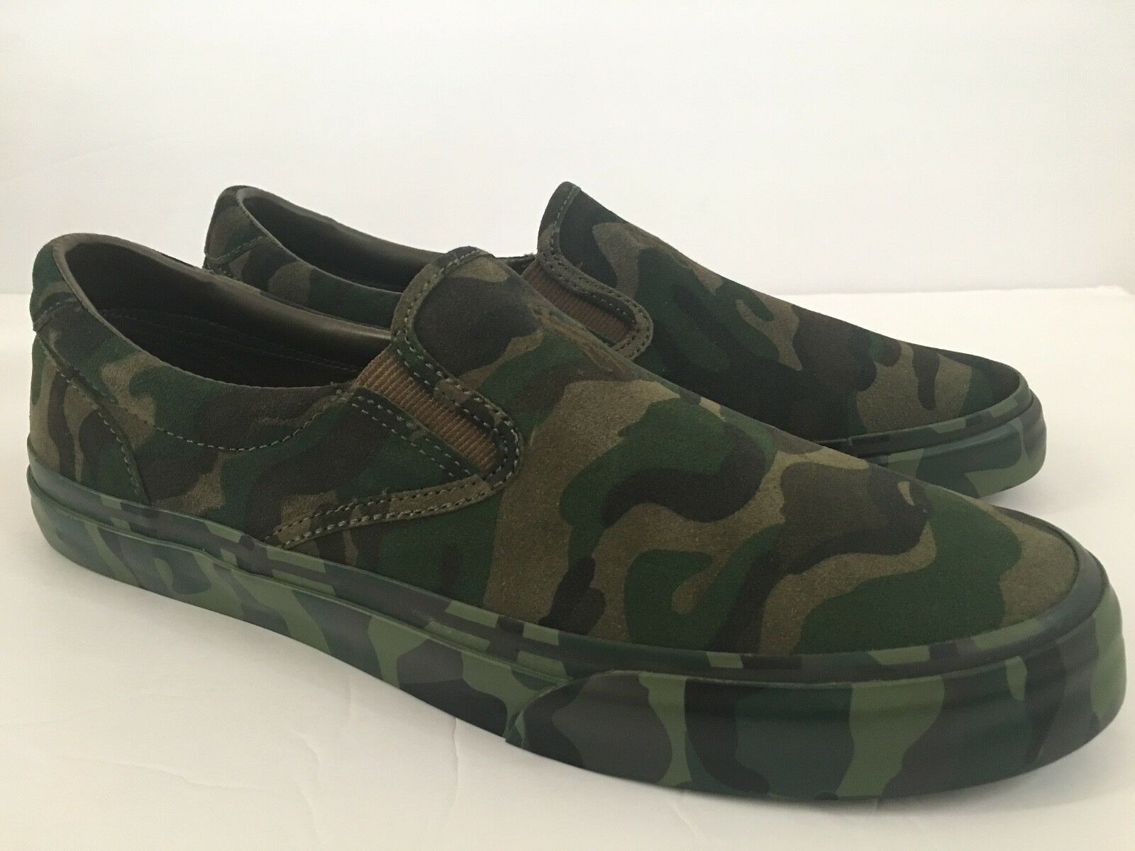 Polo Ralph Lauren Mens 11 D Thompson Sneakers Suede Olive Camouflage Slip On NIB