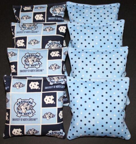8 All Weather CORNHOLE BEANBAGS made w NORTH CAROLINA TARHEELS Fabric