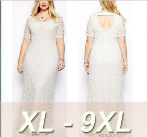 c0023c8c8228 Plus size Women Lace Short Sleeves Long Party Evening Gown Sexy ...