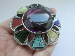 Vintage-Miracle-Massive-Scottish-Agate-Glass-Silver-Tone-Plaid-Brooch-Kilt-Pin