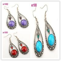 1pair Tibet Silver Crystal Teardrop crystal dangle Earrings er180/er181/er182