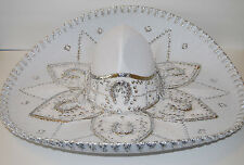 "Authentic Mexican Mariachi-Sombrero Charro Hat True Adult 23"" White/Silver"