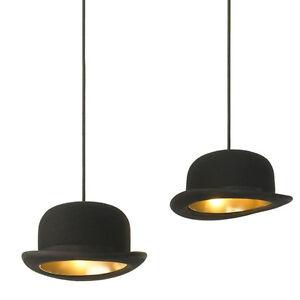 d3191d2d068 Modern Black Wool Flt Top Hat Bowler Jeeves Pendant Light Ceiling ...