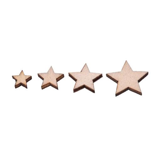 100X Wooden Mini Mixed Wood Stars Craft Cardmaking Scrapbooking Embellishment RD