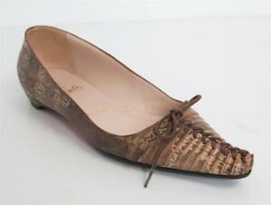 Details About Christian Louboutin Brown Lizard Leather Corset Tie Bow Pointed Toe Flats 7 37