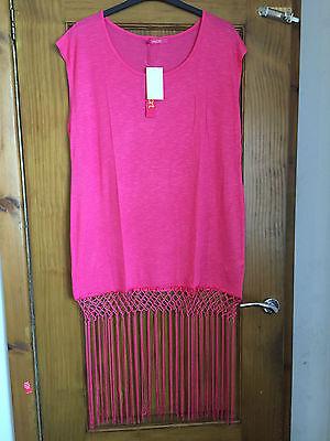 Sexy Pink fringed beach dress/cover up - PLUS SIZE 20 - BNWT - kaftan/tassle