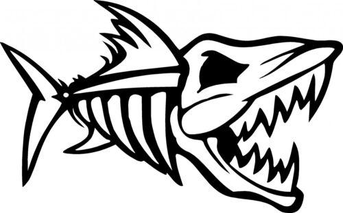 2-1R//1L Mean Black Nitro Fish Skull Die Cut Vinyl Decal Sticker Boat,Tackle