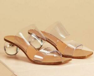 Womens-Transparent-Crystal-Med-Ball-Heels-Slippers-Fashion-Sandals-Shoes-SZ