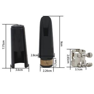 Black-Plastic-B-Flat-Clarinet-Mouthpiece-amp-Cap-Clamp-Woodwind-Instruments-A2D5