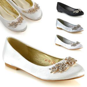 Womens-Slip-On-Bridal-Shoes-Ladies-Satin-Diamante-Brooch-Ballet-Pumps-Size-3-8