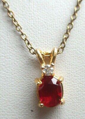 Motivata élégant Pendentif Collier Plaqué Or Solitaire Rubis Cristal Bijou Vintage 334 Firm In Structure