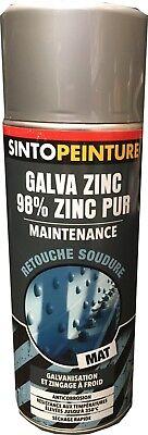 Bombe Aerosol Peinture Pro Galva Zinc Pur 98% Gris Mat Sinto Maintenance 950405
