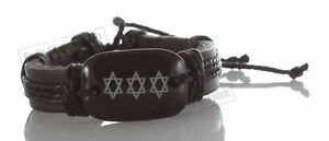 1 Black Jewish Magen Star of David Bangle Leather Bracelet Wristband God Sacred