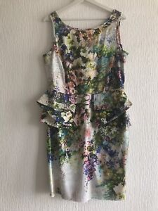 UK-18-River-Island-Floral-Multi-Schoesschen-Kleid-Sommer-Xmas-Promi-Party-Smart-Glam