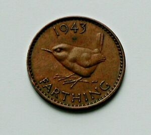 1943-UK-British-George-VI-Coin-Farthing-1-4d-brown