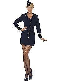 Smiffys-Flight-Attendant-Costume-Navy-Blue-UK-Dress-8-10