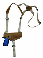 Barsony Olive Drab Leather Shoulder Holster Steyr, Walther Full Size 9mm Hor
