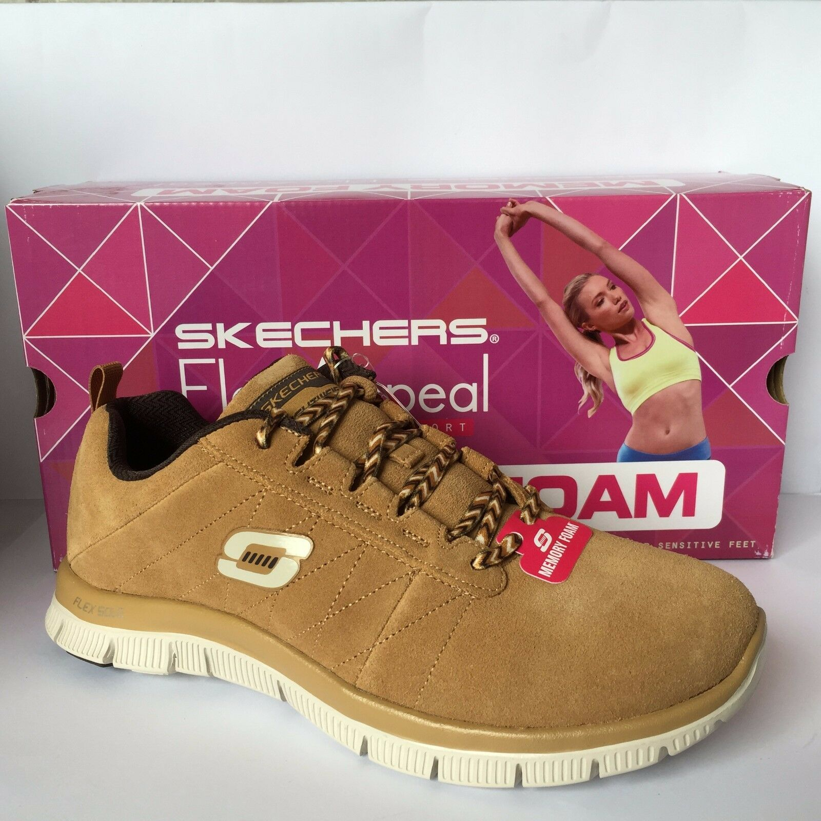 Skechers Flex Appeal Casual Way Ladies Lace Up Trainer MEMORY FOAM Wheat