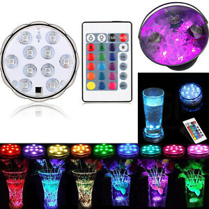 RGB Remote Controlled Submersible 10LED Light Color Changing Battery Operated A+