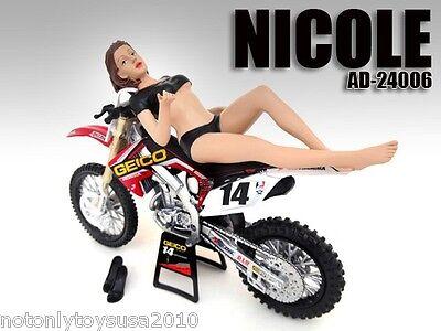 1:12 scale American Diorama Figure - Model NICOLE - Motorcycle Moto GP Dirt Bike