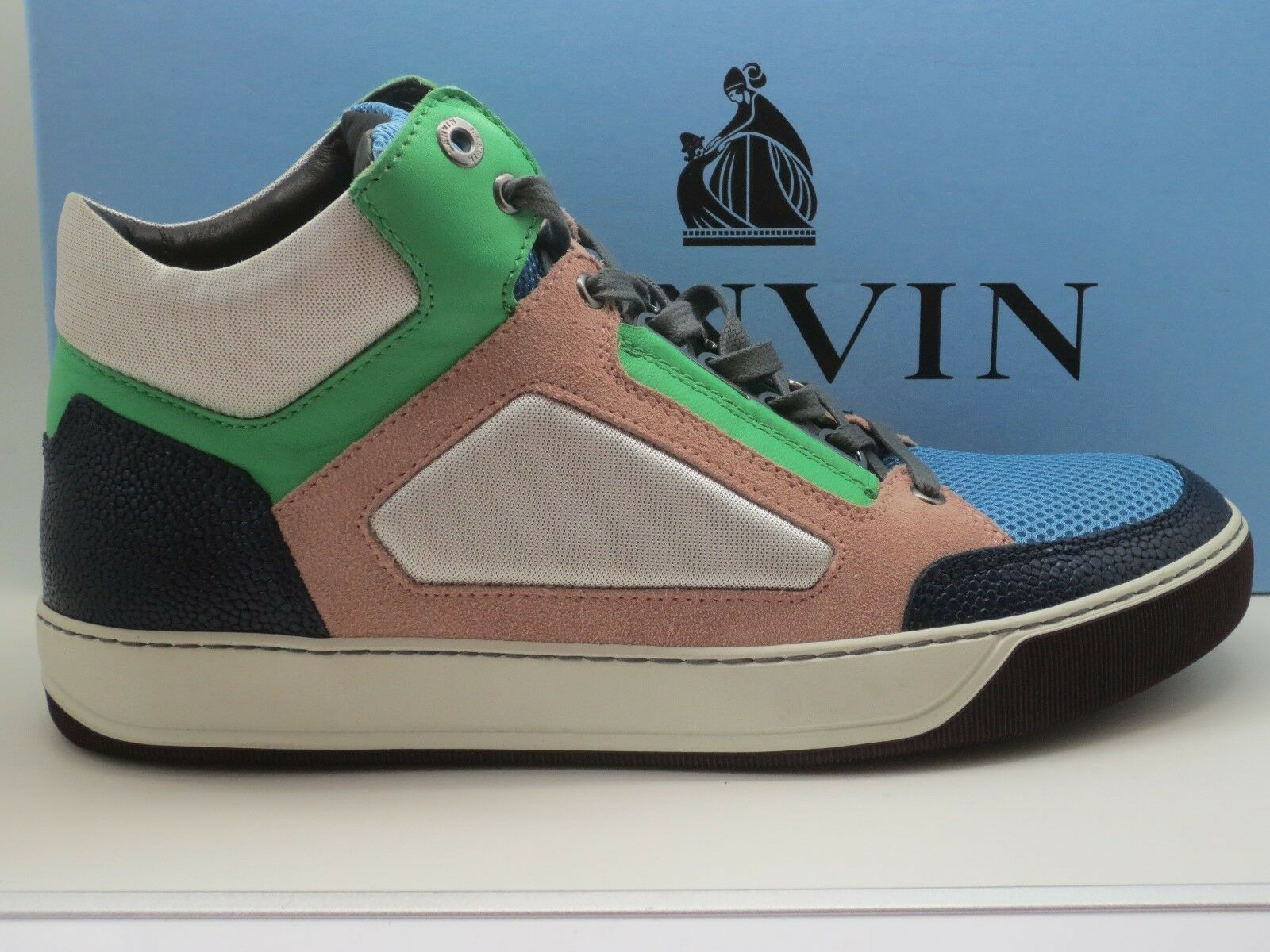 680 New Lanvin Mid-Top Sneakers pinkwood Size 9 UK US 10 Authentic in Box