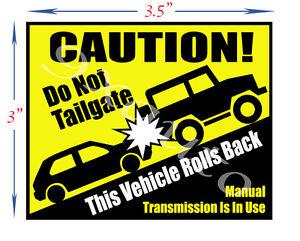 Jeep, SUV, Roll Back Warning Sticker