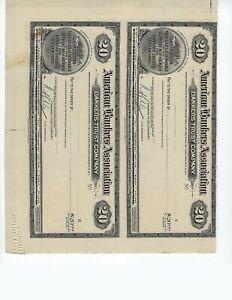AMERICAN-BANKERS-ASSOC-20-DOLLAR-UNCUT-PAIR-PROOF-TRAVELERS-CHECKS-1929-UNC