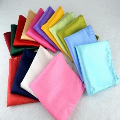 Hot Mens Solid Plain Color Pocket Square Handkerchief Hanky Suit Wedding Party