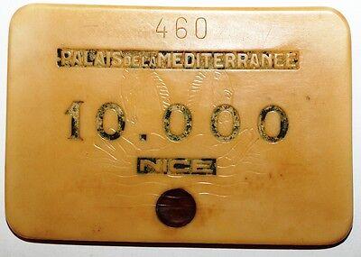 Onesto Plaque Casino Palais De La Mediterranee Nice 10.000 Francs Crease-Resistenza