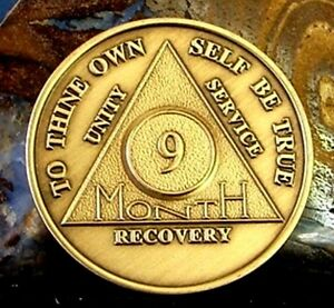 9 Month AA Medallion Bronze Alcoholics Anonymous Sobriety Chip Coin