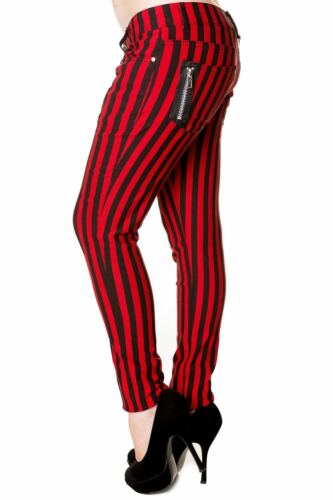 Black Red Stripes Skinny Punk Rockabilly Stretch Trousers Jeans Banned Apparel
