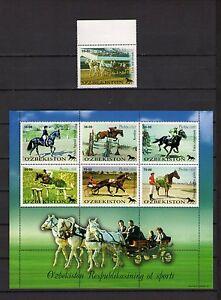 Usbekistan-2000-Mi-Nr-247-248-253-ZD-Kleinbogen-KB-Pferde-Postfrisch-MNH