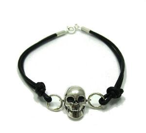 Sterling-Silber-Armband-Totenkopf-massiv-punziert-925-mit-Leder-handgefertigt