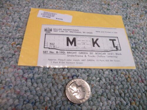 Herald King decals HO B-193 MKT Missouri Kansas Tecas bright green 50/' box    F6