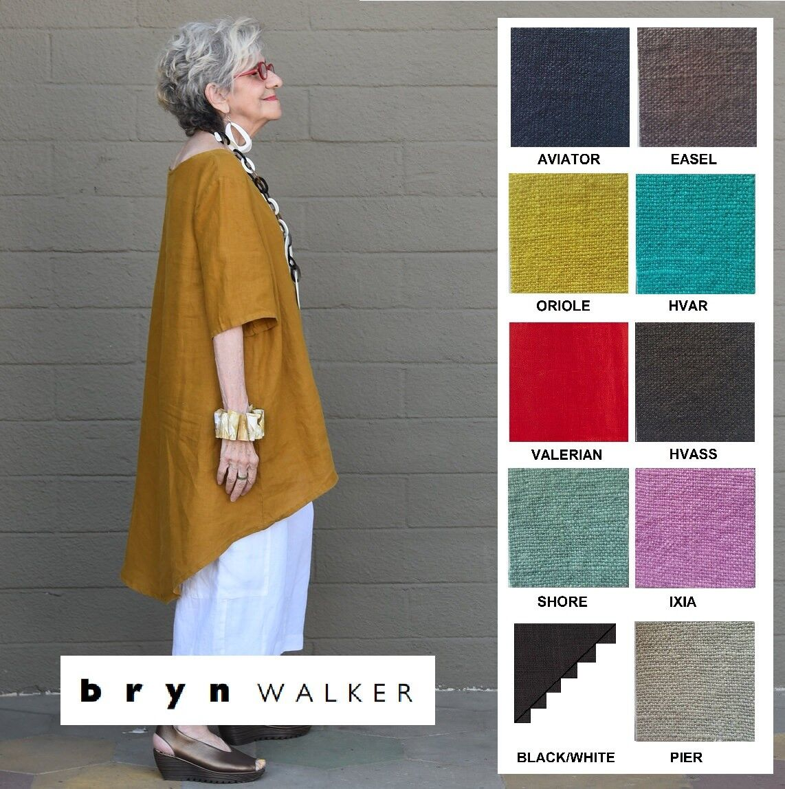 BRYN WALKER Light Linen LILO TUNIC Long A-Line Hi-Lo Top XS S M L XL SPRING 2018