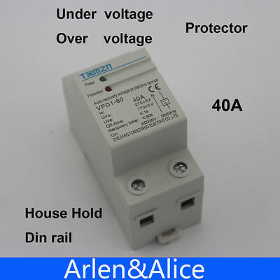 Voltage Protector Relay,Adjustable Automatic Reconnect Over Voltage And Under Voltage Protection Relay 2P40A