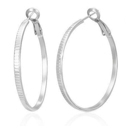 Stainless Steel Clip Back 41mm Round Hoop Earrings    Coin Style Edged     b87