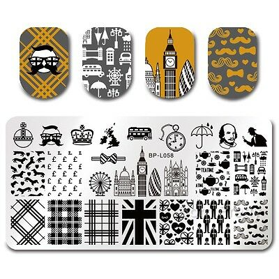 BORN PRETTY Template Stamping Plate London Rectangle Nail Art Image Plate BPL-58
